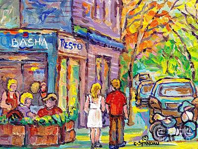 Painting - Paintings Of Verdun Landmark Restaurant Basha Lasalle Canadian Art Summer Scenes C Spandau Artist  by Carole Spandau