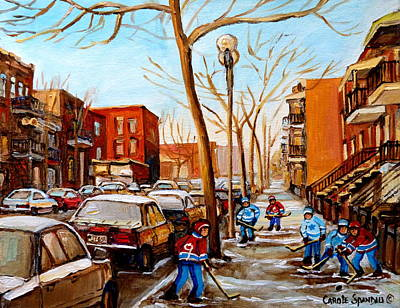 Paintings Of Verdun Streets In Winter Hockey Game Near Row Houses Montreal City Scenes Print by Carole Spandau