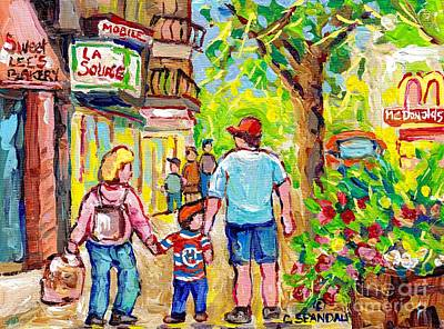 Painting - Paintings Of Verdun Sweet Lee Bakery Summer Stroll Wellington Streetscene Hockey Shirt Canadian Art  by Carole Spandau