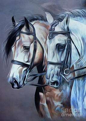 Suckling Painting - Pair Of Beautiful Horses  by Gull G