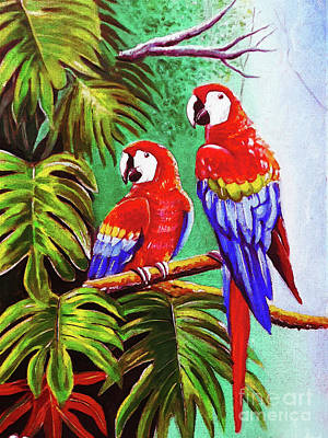 Painting - Pair Of Beautiful Parrots by Gull G