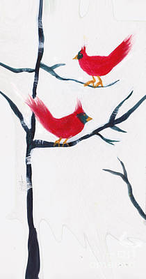 Painting - Pair Of Cardinals by Maura Satchell