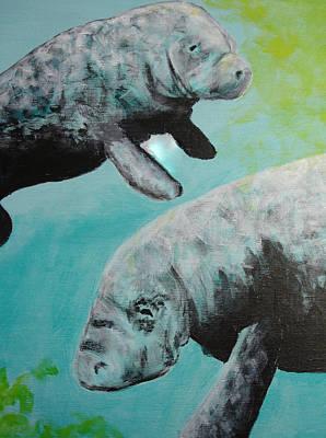 Diving Painting - Pair Of Florida Manatees by Susan Kubes