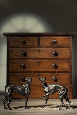 Pair Of Greyhound Dog Figures Art Print by Amanda Elwell