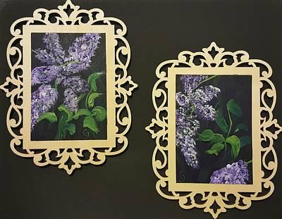 Fancy-full Painting - Pair Of Lilacs                 50 by Cheryl Nancy Ann Gordon