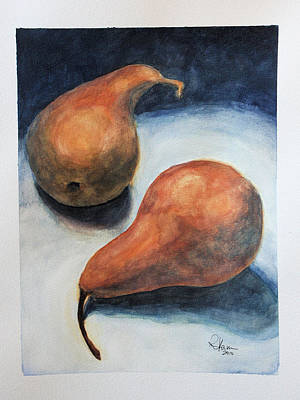 Art Print featuring the painting Pair Of Pears by Rachel Hames