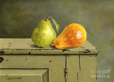 Primitive Art Painting - Pair Of Pears by Sarah Batalka