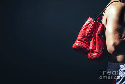 Photograph - Pair Of Red Gloves On The Fighter's Back. by Michal Bednarek