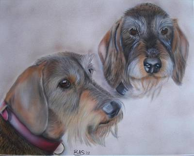 Painting - Pair Of Wirehaired Dachshunds by Bas Hollander