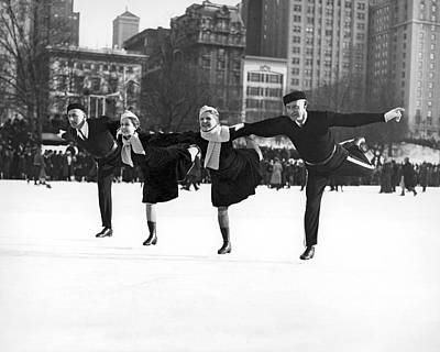 One Leg Photograph - Pairs Skating In Central Park by Underwood & Underwood
