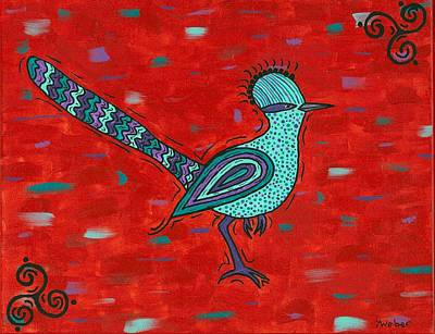 Painting - Paisano Petra - Roadrunner by Susie WEBER