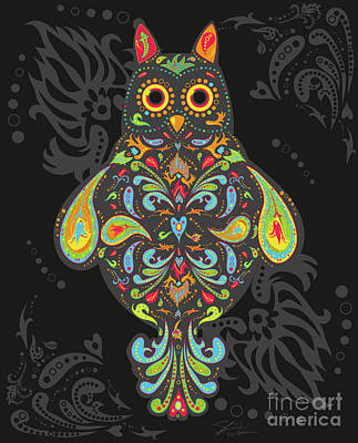 Digital Art - Paisley Owl by Shari Warren