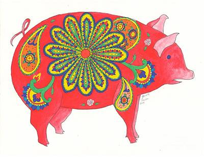 Painting - Paisley Pig by Jeanette Clawson