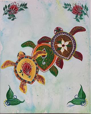 Hawaii Sea Turtle Mixed Media - Paisley Sea Turtles   by Linda Walden