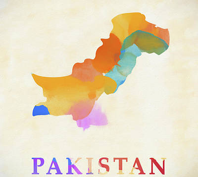 Painting - Pakistan Watercolor Map by Dan Sproul