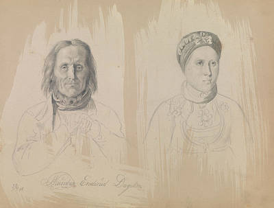 Drawing - Pal Knutsen Enderud, Uvdal And Woman by Adolph Tidemand