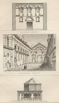 Split Drawing - Palace Of Diocletian, 3rd by Vintage Design Pics