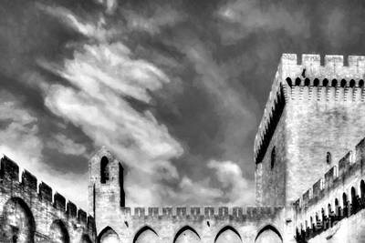 Photograph - Palace Of The Popes In Avignon Bw by Mel Steinhauer