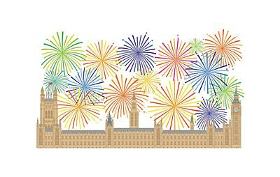 Digital Art - Palace Of Westminster And Fireworks Illustration by Jit Lim