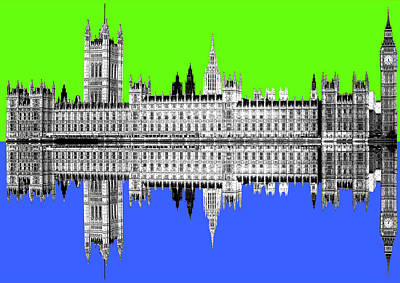 Digital Art - Palace Of Westminster - Lime by Gary Hogben