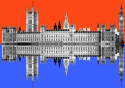 Digital Art - Palace Of Westminster - Orange by Gary Hogben