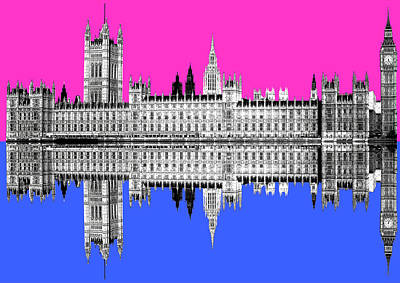 Digital Art - Palace Of Westminster - Pink by Gary Hogben
