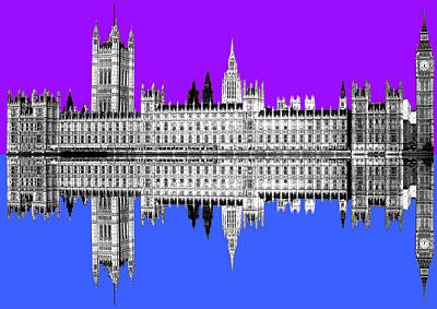 Digital Art - Palace Of Westminster - Purple by Gary Hogben
