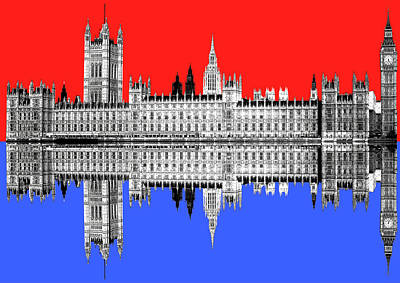 Digital Art - Palace Of Westminster - Red by Gary Hogben