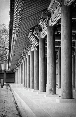 Photograph - Palace Pillars Seoul South Korea Bw by Joan Carroll