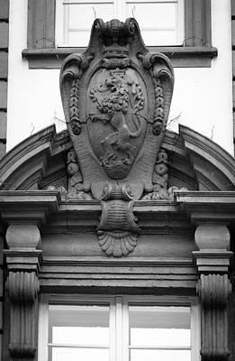 Photograph - Palais Prinz Carl Lion B W by Teresa Mucha