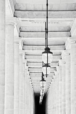 Photograph - Palais-royal Arcade Black And White - Paris, France by Melanie Alexandra Price