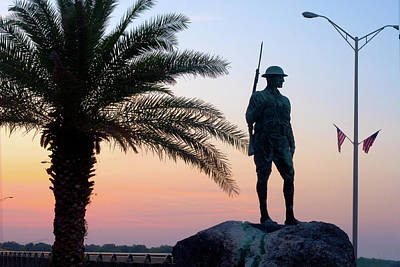 Doughboy Photograph - Palatka Memorial Bridge Doughboy At Sunset by Angie Bechanan