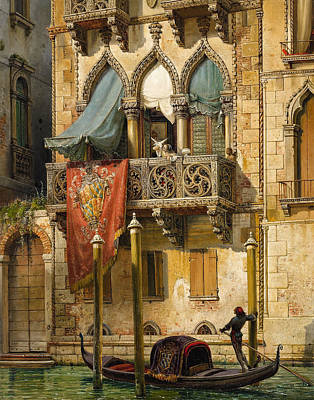 Desdemona Painting - Palazzo Contarini In Venice. House Of Desdemona by Friedrich Nerly
