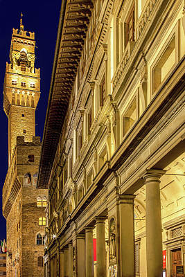 Palazzo Vecchio And The Uffizi At Twilight Art Print by Andrew Soundarajan