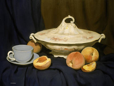 Painting - Pale Blue Coffee Cup And Peaches by Robert Holden