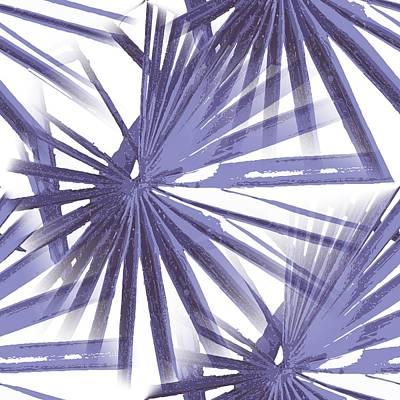 Digital Art - Pale Blue Violet Tropical Beach Palm Fan Vector by Tracey Harrington-Simpson