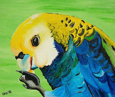 Parrot Painting - Pale Headed Rosella by Una  Miller