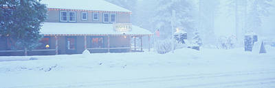 Pale Hotel In Winter Snowstorm, Lake Art Print by Panoramic Images