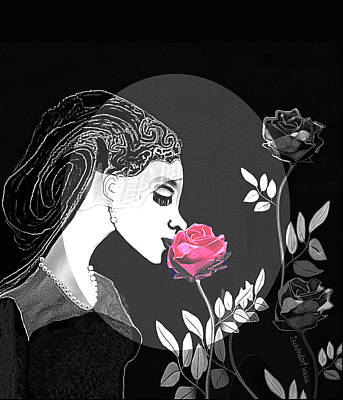 Digital Art - 2621 Pale Lady With Rose 2018 by Irmgard Schoendorf Welch