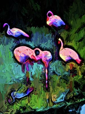 Digital Art - Pale Pink Flamingos With Some Blue by Jackie VanO