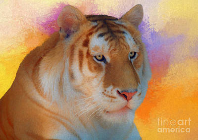 Digital Art - Pale Tiger by Suzanne Handel