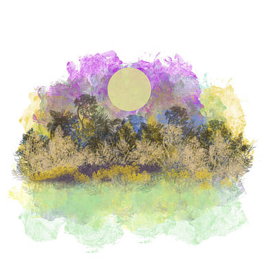 Digital Art - Pale Yellow Moon by Jessica Wright