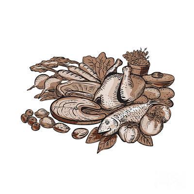 Paleo Diet Etching Art Print