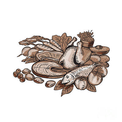 Fed Digital Art - Paleo Diet Etching by Aloysius Patrimonio