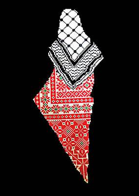 Photograph - Palestinian Keffiyeh Map by Munir Alawi