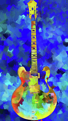 Painting - Palette Knife Colorful Guitar by Dan Sproul