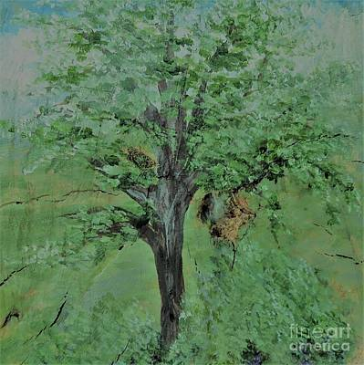 Painting - Palette Knife Tree On Wood by Eloise Schneider