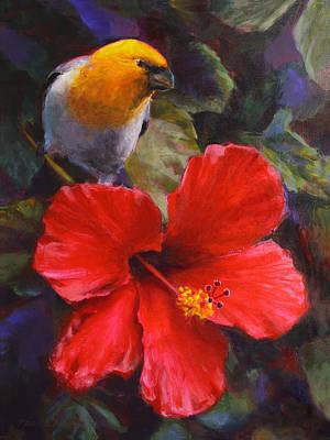 Palila And Hibiscus - Hawaiian Painting Art Print
