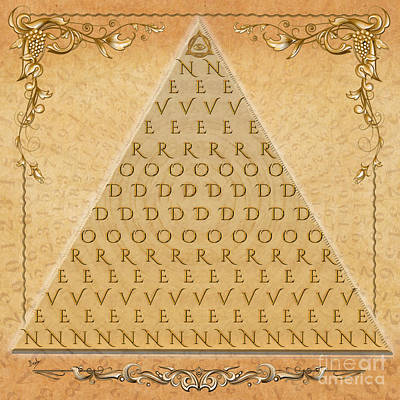 Currency Mixed Media - Palindrome Pyramid V1-decorative by Bedros Awak