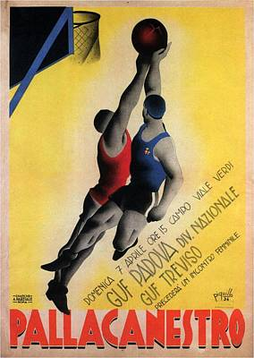 Recently Sold - Sports Royalty-Free and Rights-Managed Images - Pallacanestro - Basketball Tournament - Padova, Italy - Retro travel Poster - Vintage Poster by Studio Grafiikka